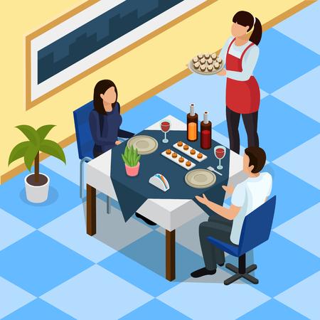 Catering izometryczne tło z parą przy stole w restauracji, kelnerka z przekąskami na ilustracji wektorowych tacy