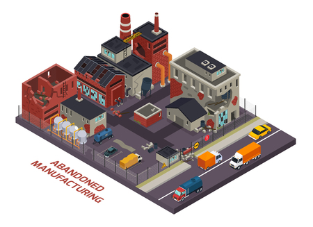 Abandoned manufacturing isometric  composition of old industrial buildings with destroyed walls and roofs vector illustration