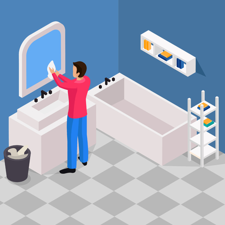 Spring thorough house cleaning works isometric background with man washing bathroom mirror with microfiber cloth vector illustration  Illusztráció