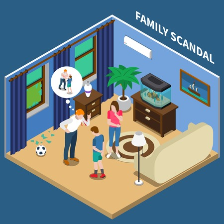 Family scandal isometric composition with father scolding son for broken window with soccer ball vector illustration