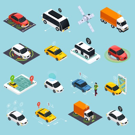 Autonomous vehicle isometric icons set of driverless robotic car bus train truck taxi controlled by satellite navigation vector illustration  Illustration