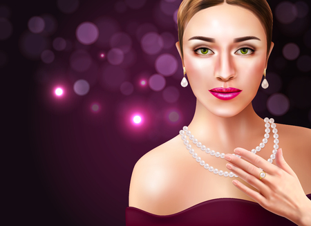 Woman wearing pearls accessories with beauty and fashion symbols  realistic vector illustration