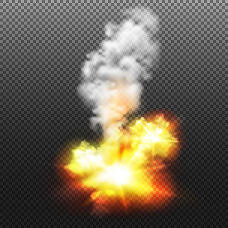 Bright explosion design on transparent background with smoke realistic vector illustration Çizim