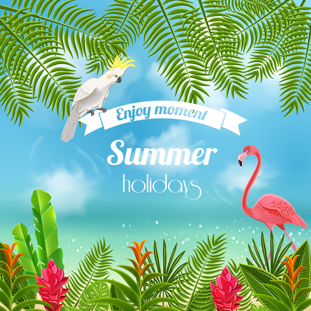 Tropical paradise background with blurred image of sea shores with flamingo parrot and leaves with text vector illustration Illustration