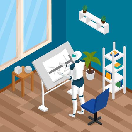 Composición virtual de inteligencia composición de inteligencia virtual con el diseñador creativo trabajo de trabajo trabaja en la mesa de ilustración vectorial Foto de archivo - 100069811