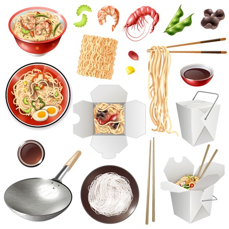 Set of realistic chinese noodles with vegetables, shrimps, mushrooms, soy sauce, chopsticks, wok isolated vector illustration