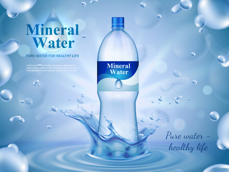 Mineral water advertising composition with bottled water symbols realistic vector illustration