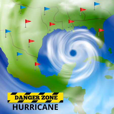 Storm hurricane tornado map realistic composition with weather forecast screen spiral cloud image and text vector illustration