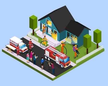 Composición isométrica del equipo de rescate con bomberos dedicados a la extinción del edificio en llamas y salvar personas ilustración vectorial.
