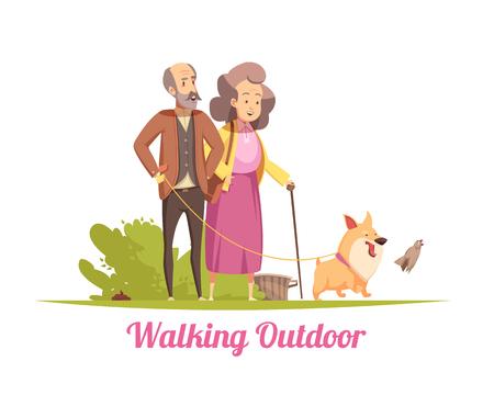 Bejaarde echtpaar tijdens het wandelen met gelukkig puppy aangelijnd in zomer cartoon vectorillustratie Vector Illustratie