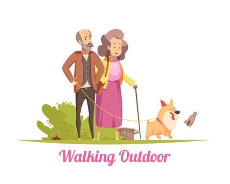 Elderly couple during walking with happy puppy on leash in summer cartoon vector illustration