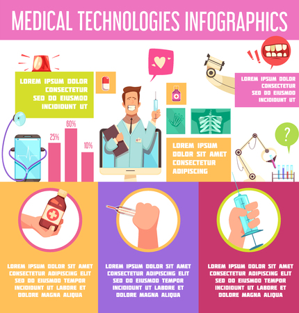 Medical technologies colorful infographics with online consultation, pocket doctor, lab equipment, x-ray scan, chart vector illustration Banque d'images - 100069822