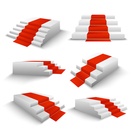 Festive events red carpet white stairs 3d elements set front side top view realistic isolated vector illustration