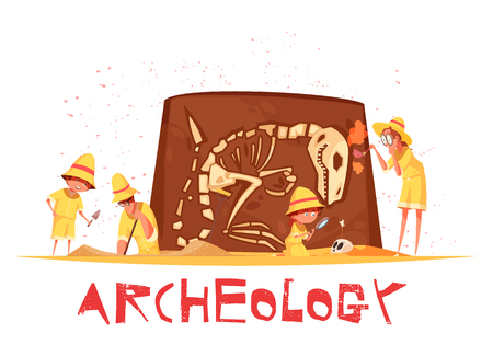 Group of explorers with work tools during archaeological digs of dinosaur skeleton cartoon vector illustration