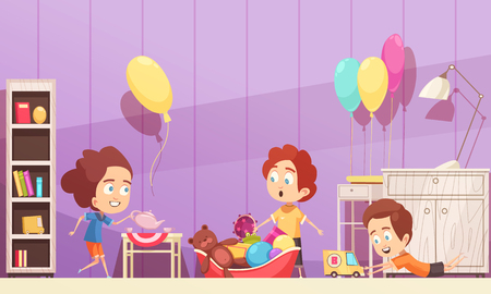 Children room in violet color with kids during game with toys, interior elements cartoon vector illustration Stock Illustratie