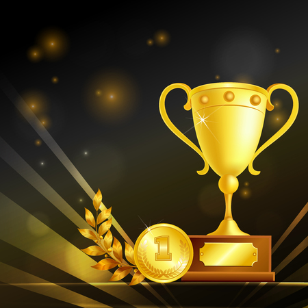 Realistic trophies of winner, golden goblet, medal and laurel branch, composition on black sparkling background vector illustration