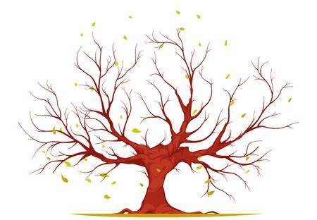 Grand arbre avec grand tronc, branches et racines, feuilles qui tombent isolés sur illustration vectorielle fond blanc