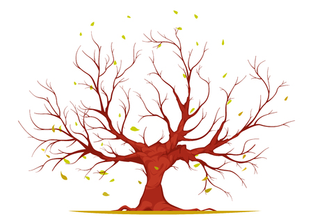 Huge tree with large trunk, bare branches and roots, falling leaves isolated on white background vector illustration