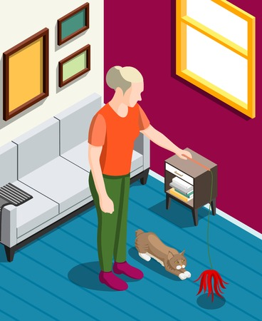 Woman during games with her cat isometric background with home interior vector illustration