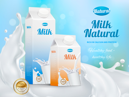 Colorful realistic poster advertising carton packs with natural milk rich in calcium and protein vector illustration