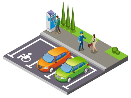 Parking isometric composition cars in the parking lot and driver communicates with parking officer vector illustration Illustration