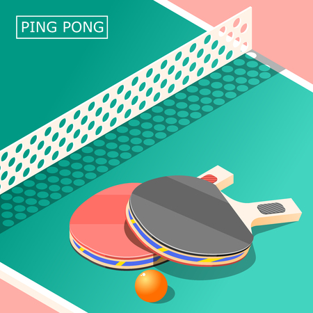 Table tennis isometric background with sports equipment including table, rackets with ball and net vector illustration