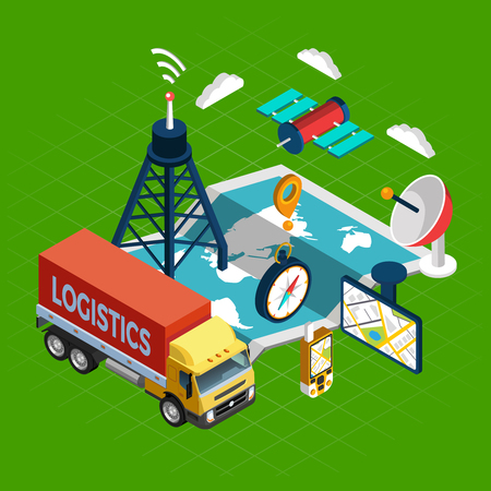 Navigation concept with logistics and satellite symbols on green background isometric vector illustration