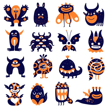 Funny monsters big set with butterfly scary plant sad rabbit spiral black orange creatures isolated vector illustration