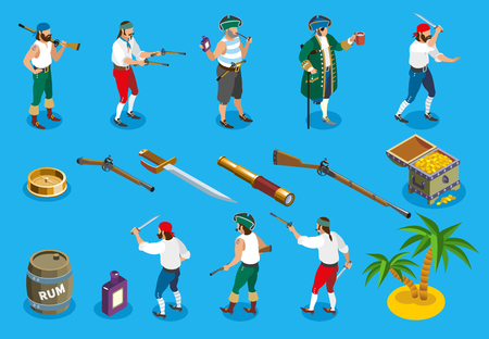 Pirates isometric icons with weapons and rum, marine accessories, treasure island, isolated on blue background vector illustration
