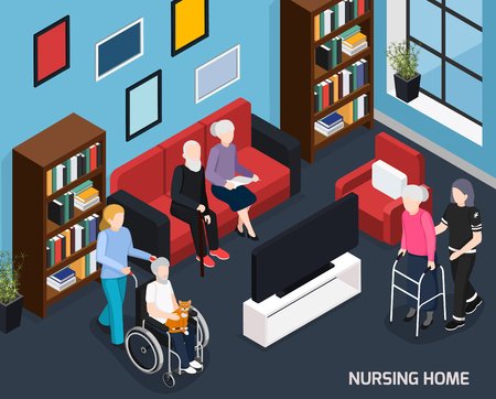 Nursing home isometric composition with working staff elderly people in wheelchair with walkers and cane vector illustration   向量圖像