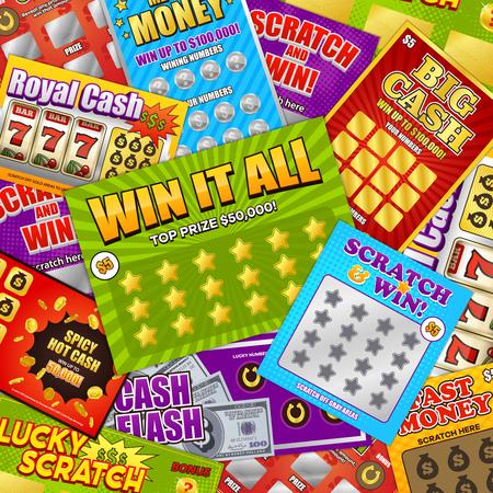 Conception de fond coloré de loterie avec grattage chanceux gros gain d'argent rapide composition de cartes de jeux d'argent illustration vectorielle Vecteurs