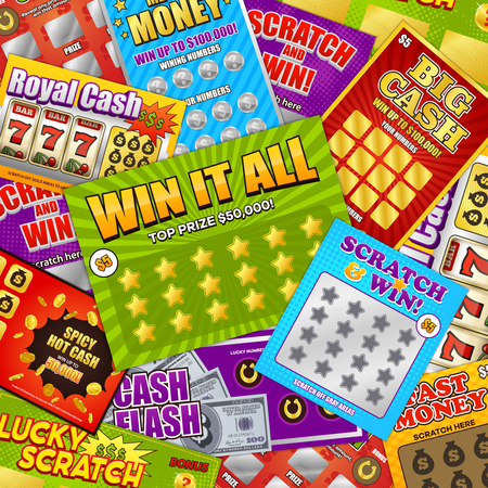 Lottery colorful background design with lucky scratch big cash win fast money games cards composition vector illustration Standard-Bild - 100070049