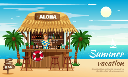 Summer vacation horizontal vector illustration with bartender preparing cocktails in tropical bungalow bar on ocean coast