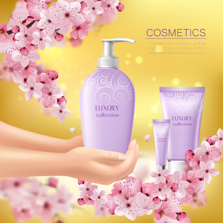 Sakura colored with cosmetic product in the hands of girl advertising illustration.