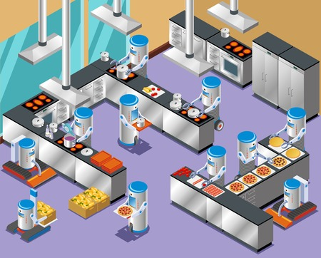 Isometric robotic restaurant composition with Robots in the restaurant kitchen on work distribution and cooking vector illustration