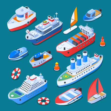 Schepen met inbegrip van zeilboten, veerboot, kruiser, sleepboot, kleine ambachten, isometrische pictogrammen die op turkooise vectorillustratie worden geïsoleerd als achtergrond