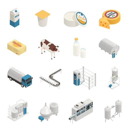 Dairy production milk factory isometric icons collection with isolated images of ready products and production facilities vector illustration