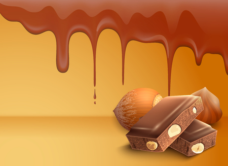 Dripping melting chocolate drops background with hazelnuts realistic vector illustration
