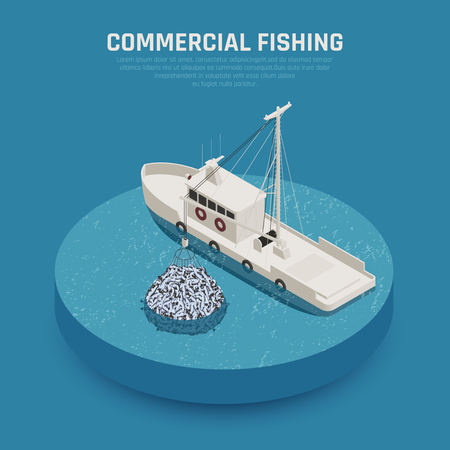 Fish industry seafood production isometric composition with image of commercial fishing boat loading stuffed fishing net vector illustration