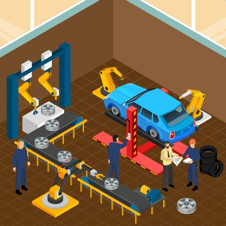 Industrial machines isometric composition with indoor view of tyre casing car workshop with machinery and workers vector illustration