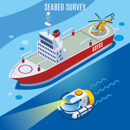 Sea bed survey background, research vessel and underwater apparatus with bright spotlight, isometric vector illustration    Illustration