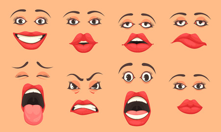 Women cute mouth lips eyes facial expressions gestures emotions of surprise happiness sadness cartoon set vector illustration