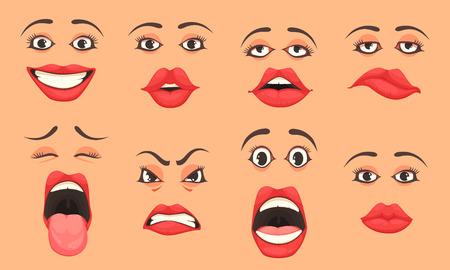 Kobiety słodkie usta usta oczy mimika gesty emocje niespodzianka szczęście smutek kreskówka zestaw ilustracji wektorowych