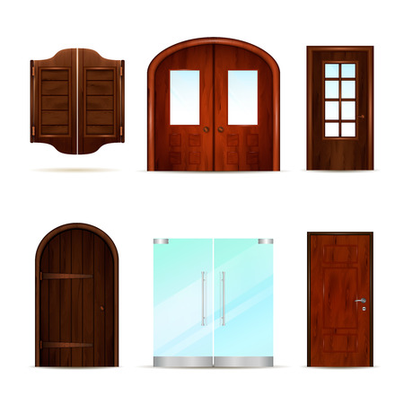 Entrance doors set of realistic 3d images with vintage classic and modern doors made of different materials vector illustration Illustration
