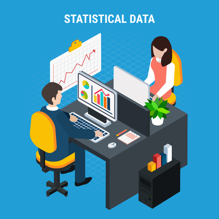 Statistical data isometric background with male and female coworkers processing information at their workplace vector illustration Ilustração
