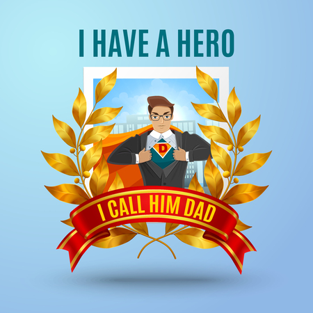 Dad day background with text and human character of cartoon father dressed in super hero costume vector illustration Çizim