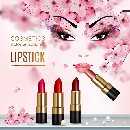 Sakura abstract flyer with advertising a new collection of lipstick and cosmetics