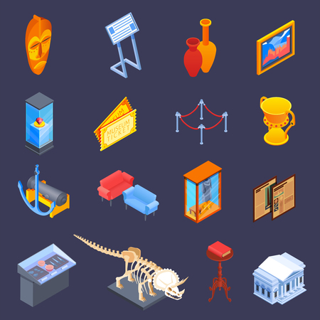 Museum isometric icons collection