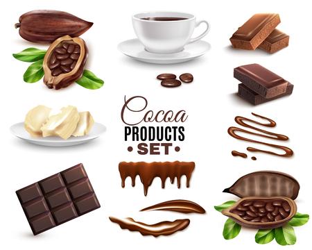 Conjunto de productos de cacao realistas.