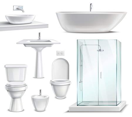 Bathroom objects set realistic 3d collection Illustration